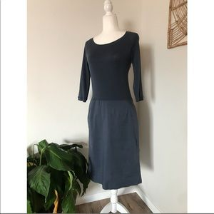 Kristensen Du Nord blue 3/4 sleeve dropwaist dress